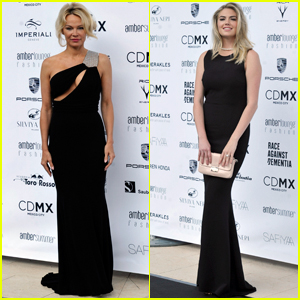 Pamela Anderson & Kate Upton Get Glam For Monaco Fashion Event