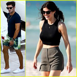 Zac Efron & Alexandra Daddario Hang Out Poolside in Miami