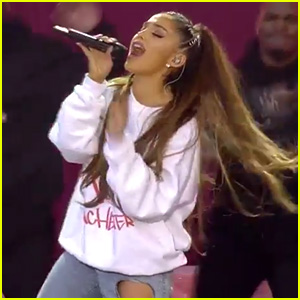 e7555903 Ariana Grande hits the stage in a sweatshirt and jeans for her performance  at the One Love Manchester benefit concert held at Emirates Old Trafford on  ...