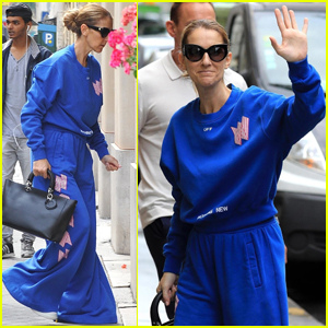 Celine Dion Goes For Head-to-Toe Blue In Matching Sweatsuit!