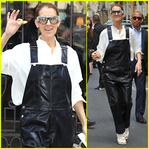 Celine Dion Rocks Leather Overalls While Out in Paris