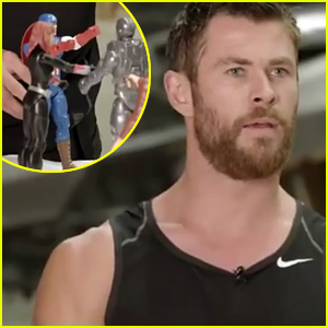 Chris Hemsworth Plays with Avengers Toys, Smashes Them with Thor Hammer! (Video)