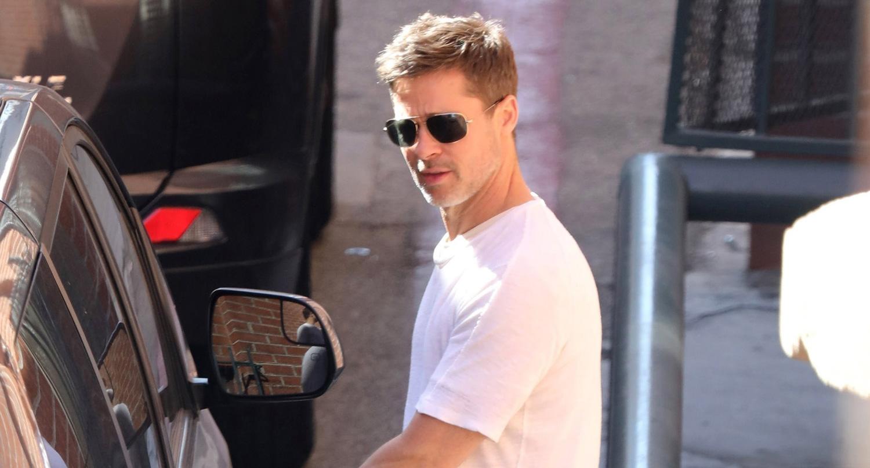 Brad Pitt Wears a Simple White Tee While Running Errands