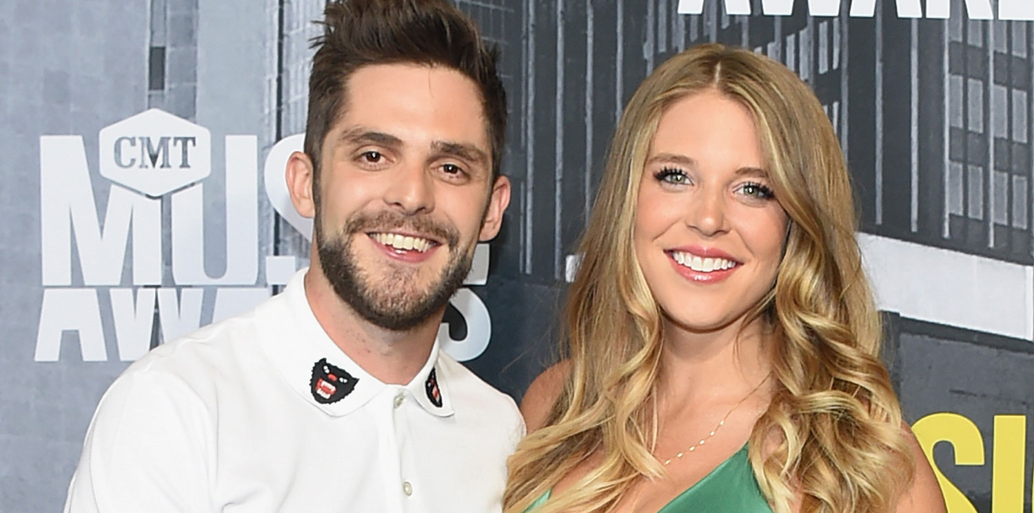 Thomas Rhett Cradles Pregnant Wife Lauren's Baby Bump at ...