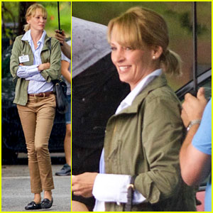 Uma Thurman Stays Dry Between 'War with Grandpa' Scenes