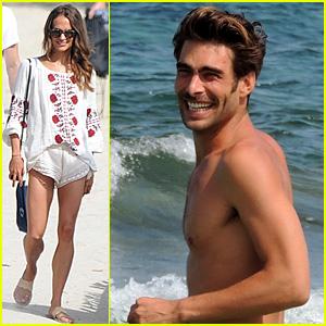 Alicia Vikander Hits the Beach with Model Jon Kortajarena