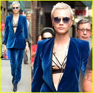 Cara Delevingne Pairs Strappy Bra With Blue Suede Suit for 'Late Show' Appearance