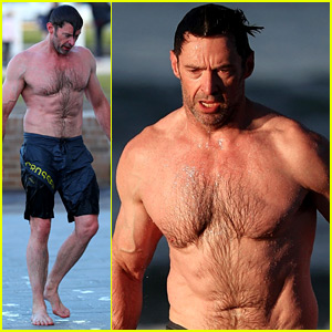 Hugh Jackman Runs Shirtless on the Beach with His Ripped Muscles on Display!