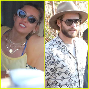 Miley Cyrus & Liam Hemsworth Dine Out with Her Family