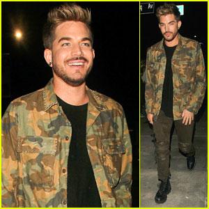 Adam Lambert Keeps It Cool in Camoflauge at the Club