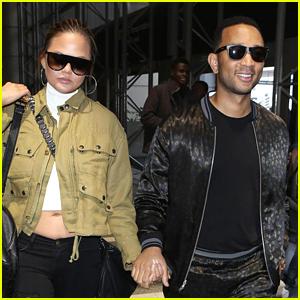 Chrissy Teigen & John Legend Hold Hands at LAX Airport