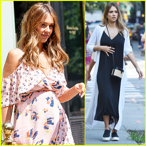 Jessica Alba Shows Off Her Growing Baby Bump in NYC!