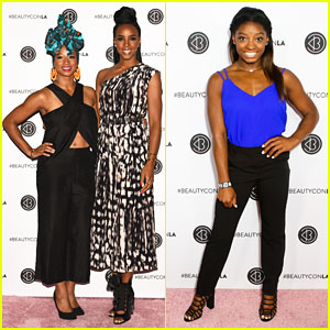 Kelly Rowland, Monique Coleman & Simone Biles Buddy Up at Beautycon LA!
