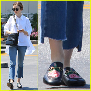 Lily Collins Adds a Classy Touch to Her Casual Ensemble