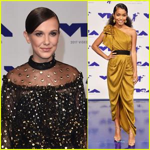 Millie Bobby Brown & Yara Shahidi Shine on  MTV VMAs 2017 Red Carpet
