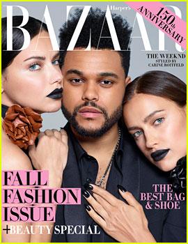The Weeknd Poses with Irina Shayk & Adriana Lima for 'Harper's Bazaar'
