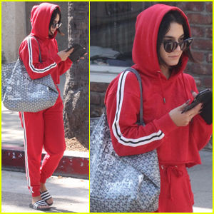 Vanessa Hudgens Hits the Gym in Head-to-Toe Red