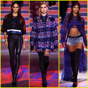 Joan Smalls, Hailey Baldwin, & Jourdan Dunn Walk in Tommy Hilfiger's London Show