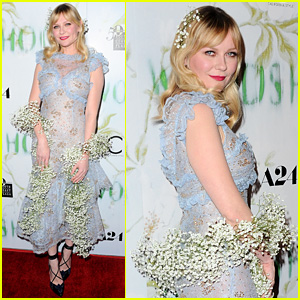 Kirsten Dunst Sports Sheer Dress & Flowers for 'Woodshock' LA Premiere