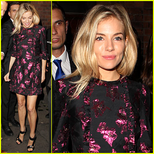Sienna Miller Dazzles in Metallic Mini Dress After 'Cat on a Hot Tin Roof' Performance