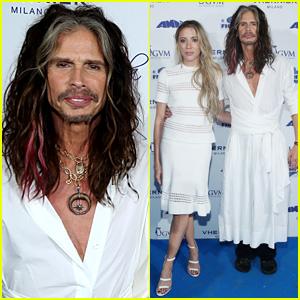 Steven Tyler Wears a Dress to Charity Event with Girlfriend Aimee Preston