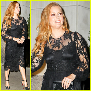 Amy Adams Sports Black Lace Dress for First Instagram Selfie