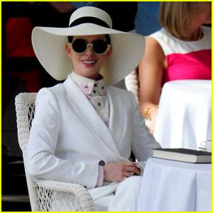 Anne Hathaway Wears a White Suit for 'Nasty Women' Scene