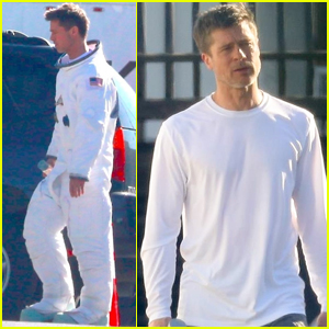 Brad Pitt Sports Space Suit on 'Ad Astra' Movie Set!