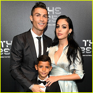 Cristiano Ronaldo Walks Red Carpet with Pregnant Girlfriend & Son