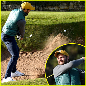 Jamie Dornan Hits Out of the Bunker During Day Three of Golf Tournament in Scotland