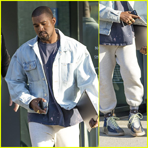 Kanye West Debuts Brand New Yeezy High Tops While Leaving His Fashion Studio!