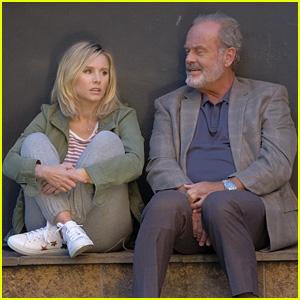 Kristen Bell & Kelsey Grammer Film 'Like Father' on a Stoop