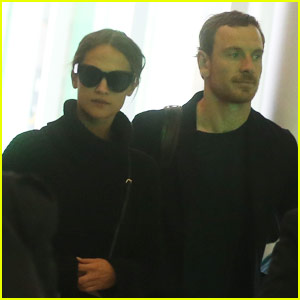 Michael Fassbender & Alicia Vikander Catch a Flight Out of France