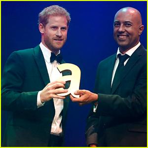 Prince Harry Accepts an Award on Princess Diana's Behalf
