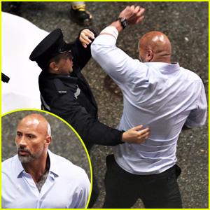 Dwayne Johnson Looks Jacked While Filming Arrest Scene for 'Skyscraper'