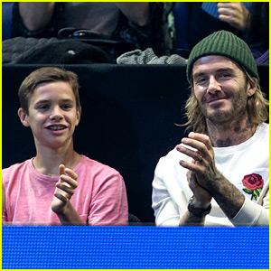 David Beckham & Son Romeo Watch a Tennis Match with Rami Malek!