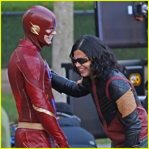 Grant Gustin Carlos Valdes Suit Up For The Flash Filming