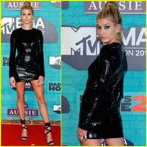 Hailey Baldwin Sparkles on the MTV EMAs Red Carpet!