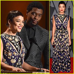 Marvel Stars Tessa Thompson & Chadwick Boseman Present at Governors Awards 2017