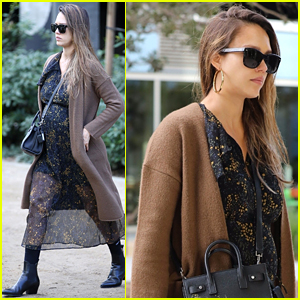 Pregnant Jessica Alba Flaunts Her Fall Style En Route to Work
