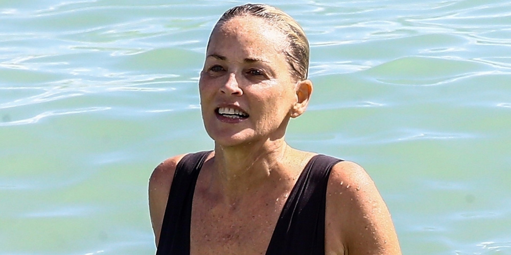 Sharon Stone in Bikini Top with her boyfriend at the beach in Miami Pic 20 of 35