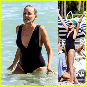 Sharon Stone Takes a Dip in a Black Bathing Suit at the Beach in Miami!