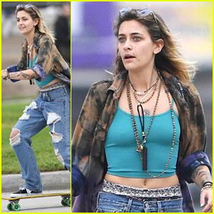 Paris Jackson Gets Wind In Her Hair On Skateboard Ride