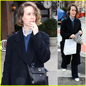 Sarah Paulson Stays Warm in a Wool Coat While Running Errands in New York City!
