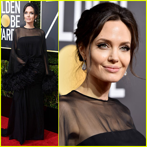 Angelina Jolie Arrives in Style for Golden Globes 2018