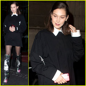 Bella Hadid Sports Futuristic Floral Boots for Night Out in Paris