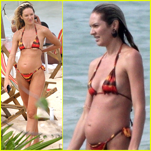 Candice Swanepoel Flaunts Baby Bump in Bikini on Vacation!