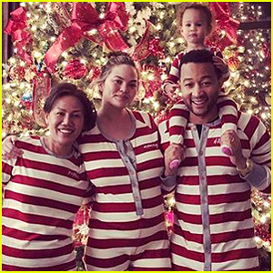 Pregnant Chrissy Teigen & John Legend Pose in Matching Christmas Onesies with Daughter Luna!