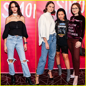 Courtney Eaton & Maia Mitchell Have a Girls' Night Out at Just Jared's 'Love, Simon' Screening!