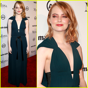 Emma Stone Goes Glam in Green for Marie Claire's Image Makers Awards
